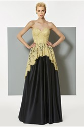 Boned A-line Sleeveless Elegant Sweetheart Dress With Lace Appliques