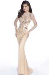 Trumpet Long Sleeve Tulle Gown Featuring Shining Sequins And Keyhole Back