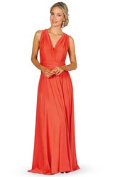 Maxi Ruched Sleeveless V-Neck Chiffon Convertible Bridesmaid Dress With Straps