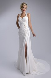 Ruched Sheath Chiffon Wedding Dress Featuring Halter And Side Slit