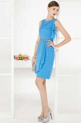 Side Drape Scoop Neck Sheath Knee Length Chiffon Prom Dress With Beadings