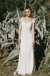 Simple Two Piece V-neck Lace Wedding Dress