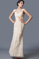 Queen Anne Cap Sleeve Draped Form-fitted Lace Bridesmaid Gown With Flowers