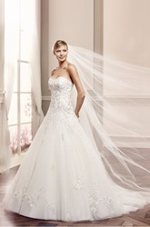 A-Line Sweetheart Floor-Length Sleeveless Appliqued Tulle Wedding Dress