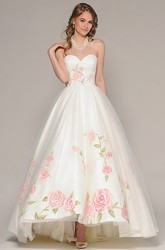 High-Low Sweetheart Criss-Cross Bowed Tulle Wedding Dress With Embroidery And V Back