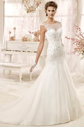 Cap sleeve Illusion Wedding Gown with Beaded Appliques and Open Back