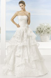A-Line Draped Strapless Floor-Length Sleeveless Wedding Dress With Tiers And Flower