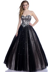 Sophisticated A-Line Tulle Sleeveless Sweetheart Prom Dress With Shining Rhinestones And Sequins