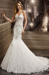 Sweetheart Mermaid Beaded Bridal Gown With Floral Embroidery And Brush Train