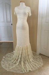 Mermaid Lace Scoop Short Sleeve Pleated Maternity Wedding Dress