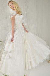 A-Line Cap-Sleeve Floor-Length Tulle&Satin Wedding Dress With Lace And Court Train