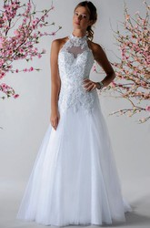 Halter Style Bridal Gown With Appliqued Top And Tulle Skirt