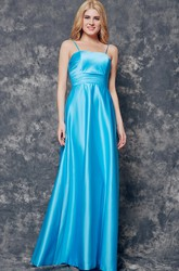 Ruched Waist Long Satin Dress With Spaghetti Straps