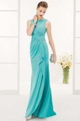 Side Drape Sequined Waist Sheath Long Prom Dress With Front And Back Keyhole