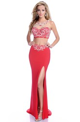 Crop Top Jersey Sleeveless Side Slit Prom Dress With Jeweled Neck And Bust
