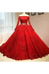 Long Sleeve Ball Gown Off-the-shoulder Floor-length Lace Tulle Prom Dress with Appliques and Sash