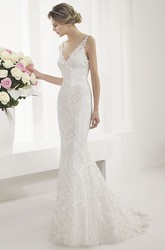V Neck V Back Mermaid Bridal Gown With Allover Lace