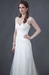 A-Line Appliqued Sleeveless Floor-Length Spaghetti Lace&Tulle Wedding Dress With Low-V Back And Brush Train