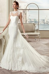 Cap Sleeve Sheath Mermaid Bridal Gown With Illusive Design And Detachable Train