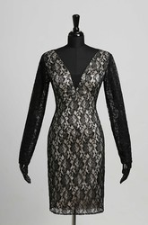 Lace Sheath V-neck Sexy Long Sleeve Knee-length Zipper Keyhole Dress with Lace