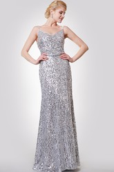 Sexy Spaghetti Straps Sheath Sequined Prom Gown