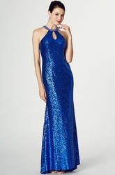 Sleeveless High Neck Sequin Prom Dress With Keyhole