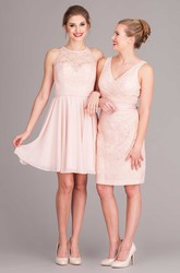 Mini Sleeveless Scoop Neck Lace Chiffon Bridesmaid Dress