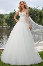 Floor-Length Sweetheart Beaded Tulle Wedding Dress With Brush Train And Lace Up
