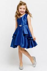 dc028d719e9 Split Knee-Length Split-Front Beaded Satin Flower Girl Dress With Sash ...