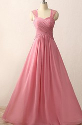 A-line Floor-length Sweetheart Chiffon Lace Dress