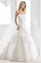 Strapless A-Line Lace Gown With Side Draping Ruffles And Floral Decorations