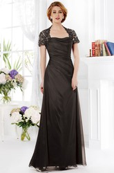 Short-Sleeved Floor-Length Mother Of The Bride Dress With Beadings And Ruches