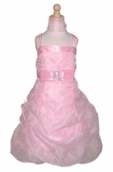 Cape Short Beaded Floral Organza Flower Girl Dress With Sash