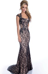 Trumpet Cap Sleeve Lace Prom Dress With Beadings And Keyhole Back
