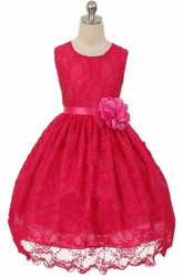Tea-Length Beaded Floral Lace Flower Girl Dress With Sash
