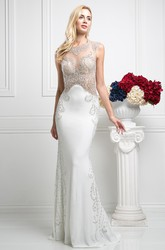Sheath Long Bateau Sleeveless Jersey Illusion Dress With Beading
