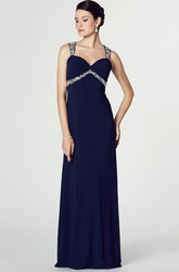Sheath Beaded Long Empire Sleeveless Straps Chiffon Prom Dress With Keyhole Back And Ruching