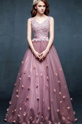 A-line V-neck Sleeveless Appliques Flower Tulle Dress