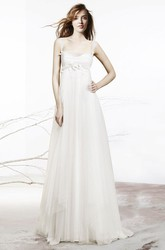 A-Line Sleeveless Empire Floral Floor-Length Tulle Wedding Dress With Low-V Back And Draping