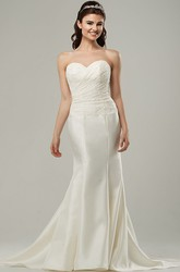 Sweetheart Long Side-Draped Satin Wedding Dress With Sweep Train And Corset Back