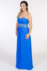 Sweetheart Sleeveless Jeweled Chiffon Prom Dress With Ruching