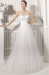 A-Line Floor-Length Bateau Sleeveless Floral Tulle Wedding Dress With Pleats And Illusion Back