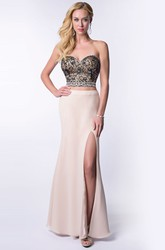 Two-Piece Sweetheart Column Homecoming Dress With Lace Bodice And Side Slit