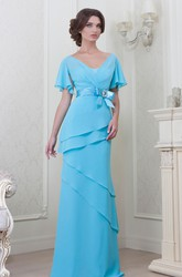 V-Neck Floor-Length Poet-Sleeve Bowed Chiffon Bridesmaid Dress With Tiers And V Back