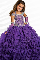 Ball Gown Halter Illusion Sleeve Beading Flower Girl Dress with Ruffle