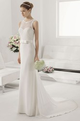 Scoop Neck Sleeveless Sheath Long Wedding Dress With Belt And Pearl Net Bodice