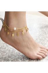 Western Style Summer Fashion New Anklet Ladies Fringed Layered Leaf Pearl Anklet