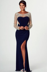 Floor-Length Bateau-Neck Beaded Long-Sleeve Jersey Prom Dress With Split Front
