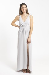 Front Split Plunging Neckline Sheath Chiffon And Ruched Details Bridesmaid Dress