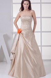 Strapless Side Draping A-Line Satin Evening Gown with Flower and Beading